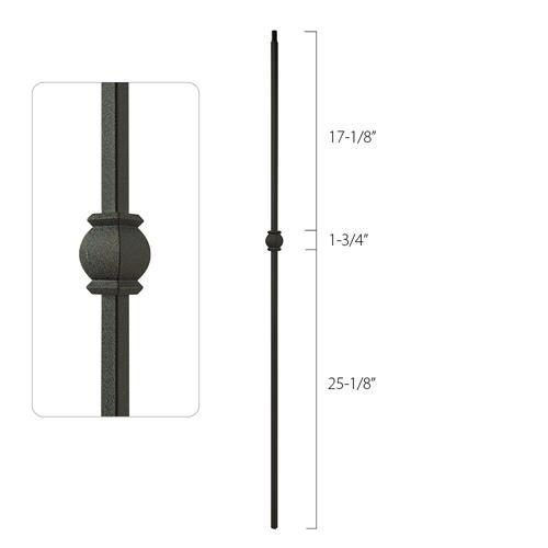 Steel Tube Spindles - 1/2 in. Square Series With Dowel Top - Single Collar