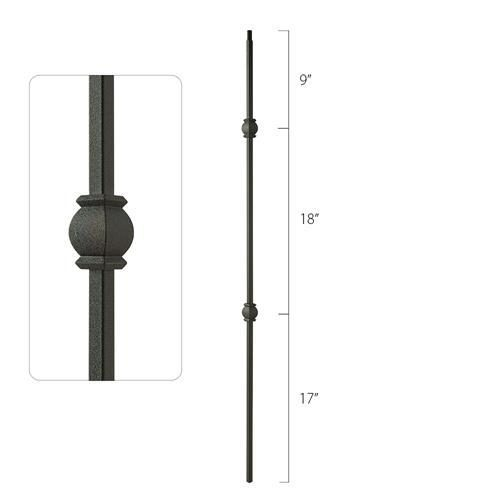 Steel Tube Spindles - 1/2 in. Square Series With Dowel Top - Double Collar