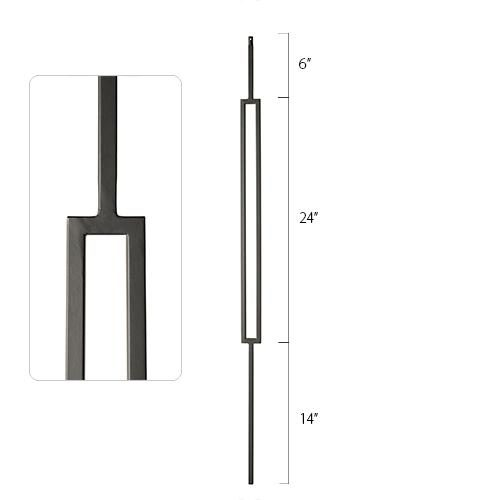 Steel Tube Spindle - 1/2 in. Square Series With Dowel Top - Single Feature