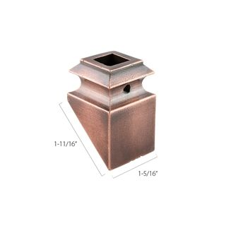 "Aluminum Pitch Base Collars - 1/2"" Square - Burnished Copper (Discount Metal Balusters)"